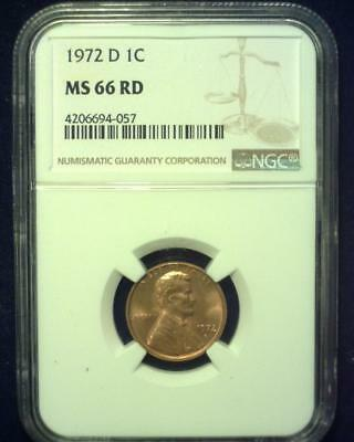 1972-D Lincoln Memorial Cent Gem Premier  Brilliant Certified Ngc Ms66 Red ~S329