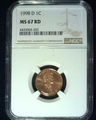 1998-D Lincoln Memorial Cent Gem Superb Brilliant Certified Ngc Ms67 Red ~S396