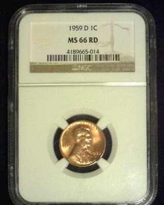 1959-D Lincoln Memorial Cent Premier Brilliant Certified Ngc Ms66 Red~S315