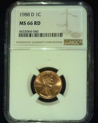 1988-D Lincoln Memorial Cent Gem Premier  Brilliant Certified Ngc Ms66 Red ~S376