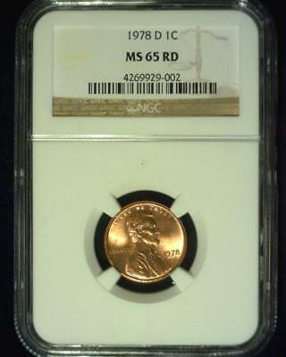 1978-D Lincoln Memorial Cent Gem Brilliant Certified Ngc Ms65 Red ~S341