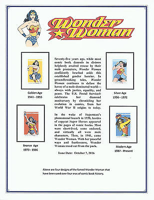 US Scott 5149-5152, Wonder Woman Stamps with Printed Album Page