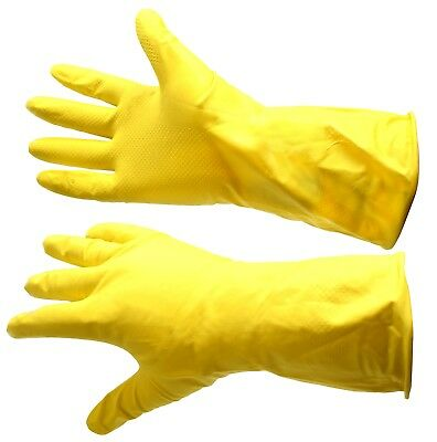 Lined Yellow Washing Up Gloves Rubber Work Home Domestic Office Cleaning Large