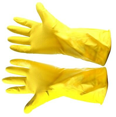 Lined Yellow Washing Up Gloves Rubber Work Home Domestic Office Cleaning Medium