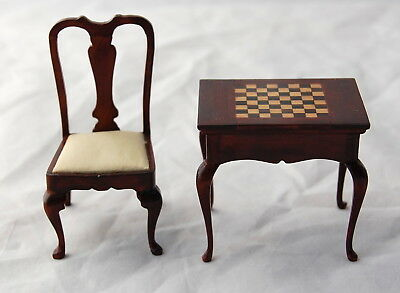 Dollhouse Miniature Artisan Inlay Chess Table Queen Anne Chair Signed