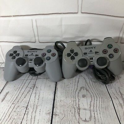 Official Sony Playstation 1 PS1 Dual Shock Controller Lot of 2 Gray SCPH-1200