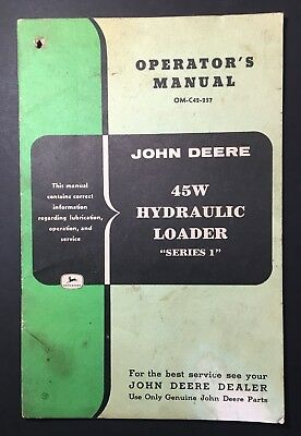 Operators Manual John Deere 45 Hydraulic Loader Series 1 Original Vintage