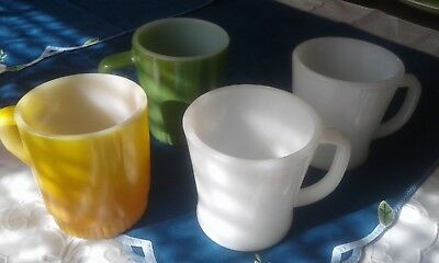 Lot of 4 Vintage Anchor Hocking Fire King Coffee Mugs 2 Stacking 2 D handles