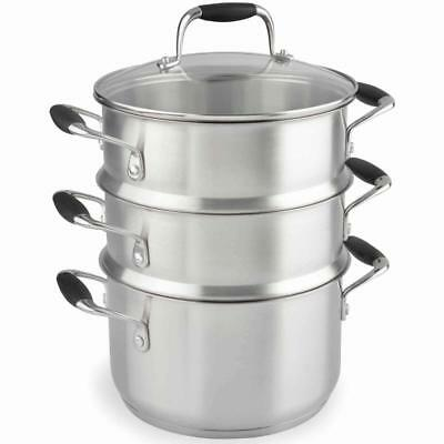 Vegetable Food Steamer 3 Tier Stainless Steel Meat Cooking Kitchen Induction Pot