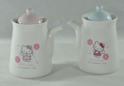 Hello Kitty Sanrio 2004 Teapot (?) Soy Containers (?) Set of Two