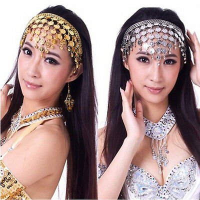 Women Belly Dance Accessories Costume Dancing Coin Sequins Hair Band Headband_L