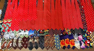 Huge Lot of 75pc Ties Neckties Christmas Novelty Some Multiples