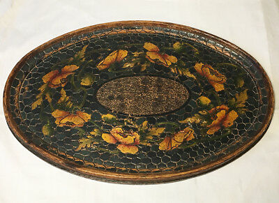 Antique Pyrography Wooden Oval Tray • Signed Hand Painted Art • Floral 15-1/2 in