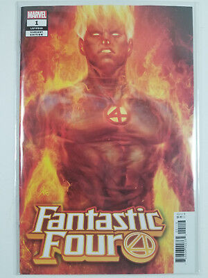 Fantastic Four #1 NM ARTGERM Human Torch Variant Marvel 2018