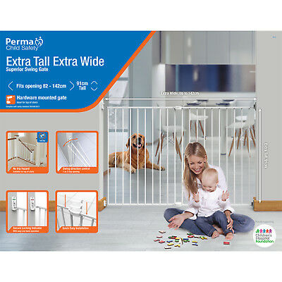 Perma Child Safety™ Superior Swing Baby Barrier Gate – Extra Tall, Extra Wide