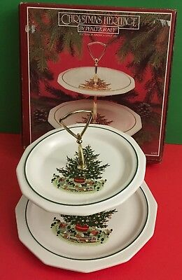 Christmas Platter Plates.Pfaltzgraff Heritage Christmas Two Tier Serving Plates