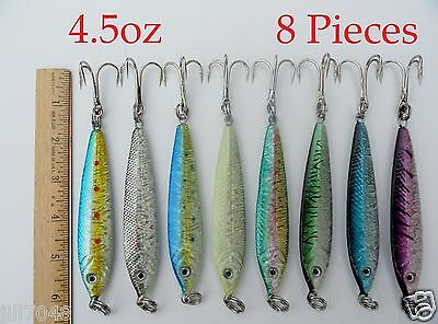 8 Pieces 4.5oz Mega Live Bait Metal Jigs Saltwater Fishing Lures