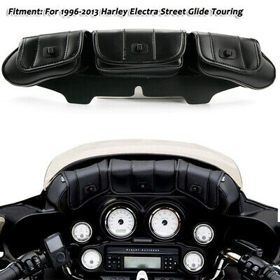 Windshield Saddle Pouch Leather Three Pocket Fairing Bag Fit Harley Street Glide