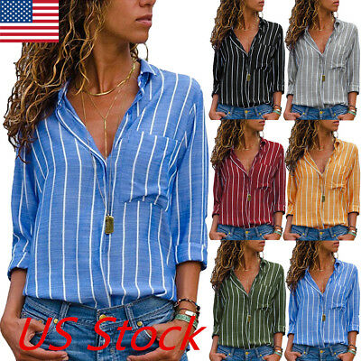 Womens Long Sleeve Striped T-shirt Summer Casual V-neck Office Loose Blouse Tops