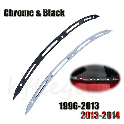 Black Chrome Slotted Windshield Windscreen Trim For Harley-Davidson 1996-2016