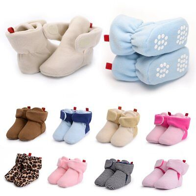 Toddler Baby Boy Girl Warm Coral Fleece Boots Infant Anti Slip Shoes For 0-18M