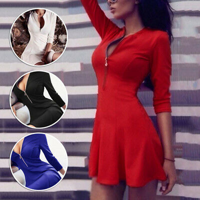 Fashion Women Sexy Zip V Neck Long Sleeve Dress Winter Evening Party Swing Dress