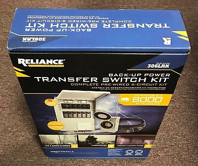 New in Box, Reliance Back-Up Power Transfer Switch Kit 306LRK - 6 Circuit 3000 w