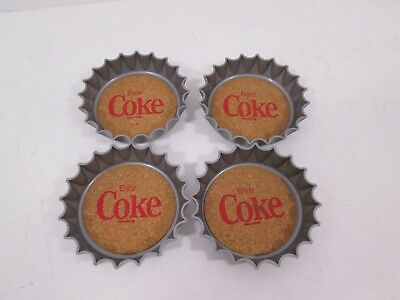 Vintage 1970 Coca Cola Set of 4 Enjoy Coke Bottle Cap Coasters