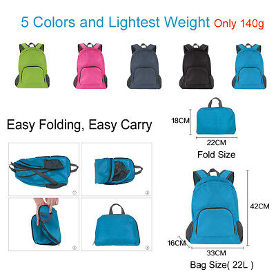 Foldable Lightweight Hiking Travel Backpack Shoulder Shopping Bags Sport Beach