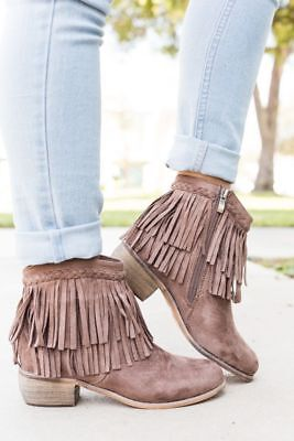 New Women's Braided Layered Fringe Cuff Cowgirl Booties Ankle Boot Low Flat Heel