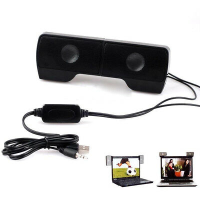 AU Durable Clip-on Mini Portable USB Stereo Speaker Soundbar for Notebook Laptop