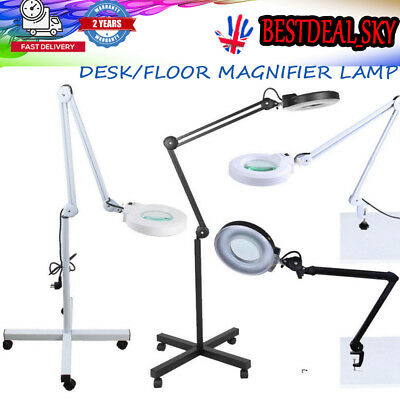 Desk/Floor Magnifier Magnifying Lamp Light Skincare Beauty Nail Manicure Tattoo