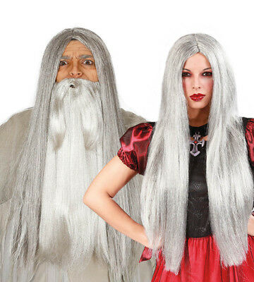 Long Straight Grey Witch Wig Wizard Ladies Mens Halloween Fancy Dress Costume