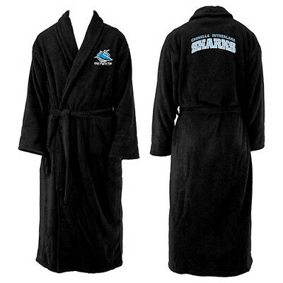 Cronulla Sharks NRL Adult Polyester Dressing Gown Bath Robe Man Cave Gift