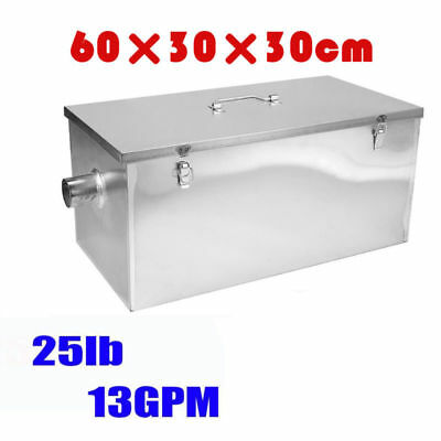 Commercial 25LB 13GPM Gallons Per Minute Grease Trap Interceptor Stainless Steel