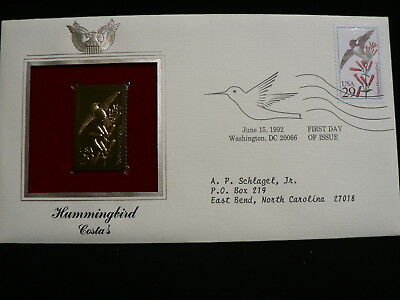 First Day Cover 22kt Gold Costa's Stamp Date Stamped 15/06/1992 Washington DC