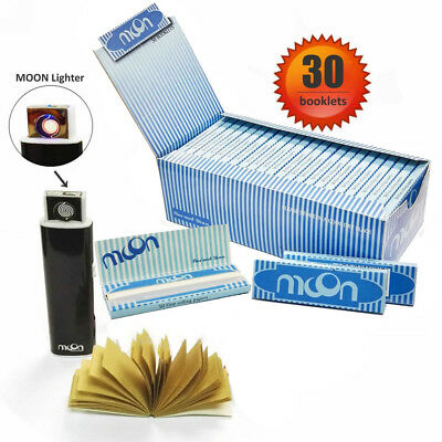 30 Booklets Moon Blue Cigarette Tobacco Rolling Papers 70*36mm with lighter