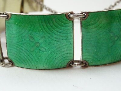 Modernist Norwegen Norway Emaille Armband 17cm Silber Guilloche Emaille Nr.272