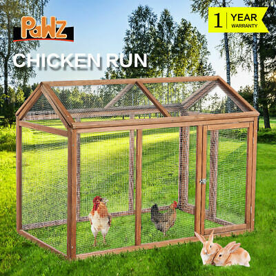 Rabbit Hutch Chicken Coop Hen House Ferret Cage with Double Run Large