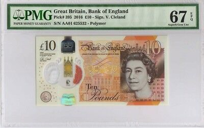 Great Britain,Bank of England,10 Pounds, 2016, The first prefix AA01,PMG 67EPQ