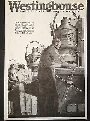 ANTIQUE 1918 PRINT AD (D16)~WESTINGHOUSE ELECTRIC MOTORS AND CONTROLLERS 2pgs