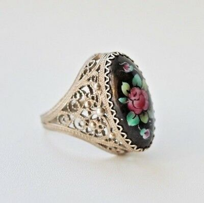 Vintage Finift Hand Painted Enamel Filigree Ring german silver #147 size 7