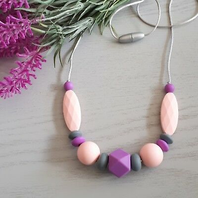 Silicone Sensory Necklace (was Teething) Pink Grey Purple Beads Handmade Gift