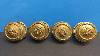 Antique Brass mascruz cabinet door knobs with matching rosettes  set of 4