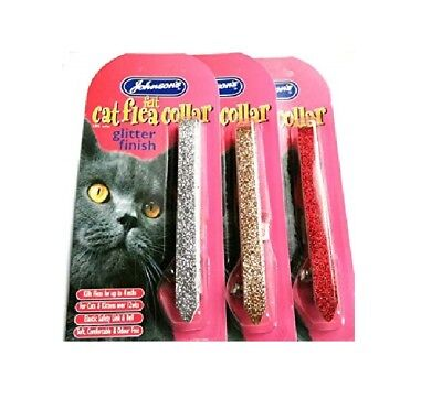 JOHNSONS Felt GLITTER Collar - CAT KITTEN FLEA COLLARS KILLS 4 months