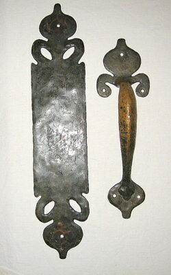 Antique Hammered Brass Gothic Door Handle and Push Plate