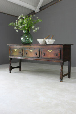 Antique Rustic Country 18th Century Oak Dresser Base Sideboard