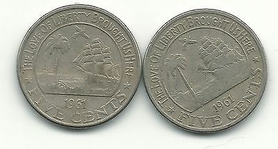 Very Nice Lot Of 2 1961 Liberia Five  Cent Coin-Elephant Coin-Apr256