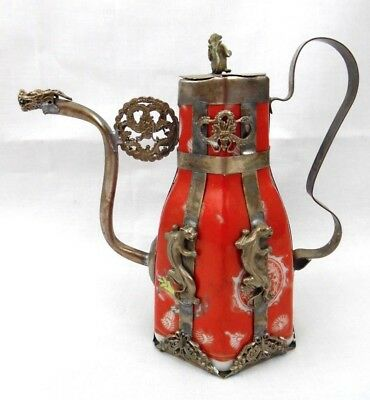Post 1940 Vintage Chinese Tibet Silver Leopard Porcelain Teapot Monkey On Top