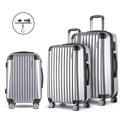 Wanderlite Set of 3 Hard Shell Luggage Trolley Cabin Travel Suitcase TSA Lock